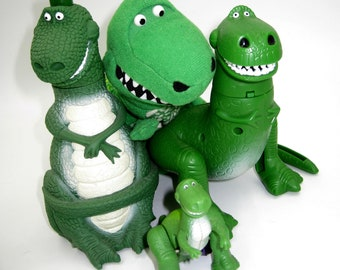 Rex Dinosaur Wind-up Toy Vtg 1995 Pixar Toy Story Wood Squeeze Bottle get all 3x in order and Evil Emperor Zurg Rolling Toy