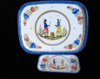 Quimper Trays, Large and Tiny, S/2, Metal Serving Trays