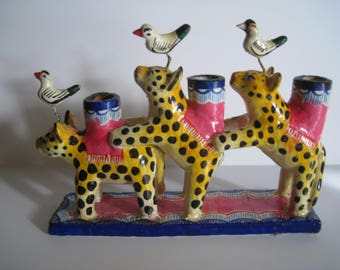 Mexican Clay Three Animal Candleholder, Vintage
