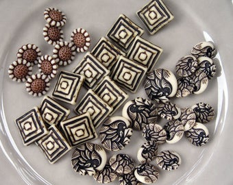 Brown and Ivory Colored Plastic Shanked Buttons, assortment of 42