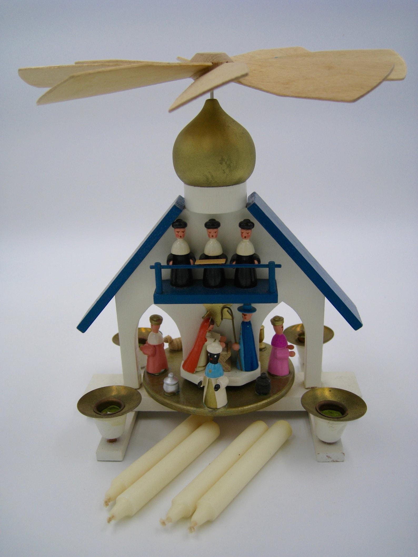 German Erzgebirge Wooden Pyramid, Candle-powered, Jesus Birth scene