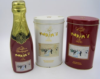 Maxim Tins, set of three, great condition,