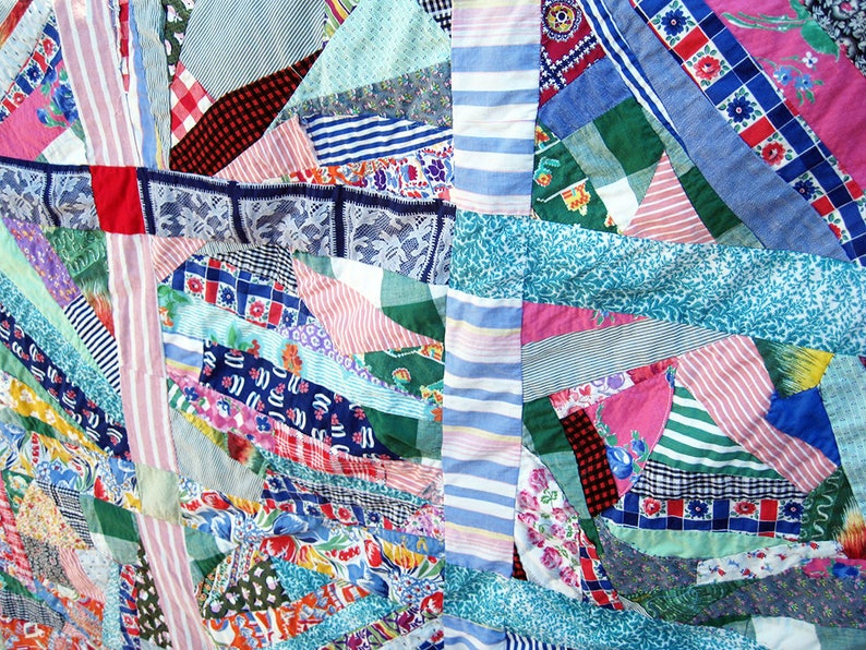 needs bottom piece, Patchwork Quilt TOP partially quilted unfinished