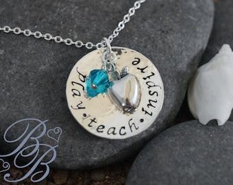 Personalized Jewelry - Hand Stamped Jewelry - Teacher's Jewelry - Teacher's Neckalce - Teacher's Gift