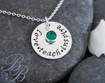 Personalized Jewelry - Teacher's Necklace - Teacher's Jewelry - Hand Stamped Jewelry - Teacher's Gift