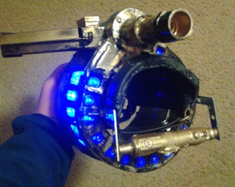 steampunk, cosplay, anime, wrist guns, costume armor, lighted gun props, Halloween