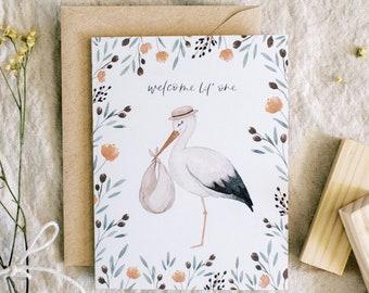 Welcome Lil' One card//stork - baby shower - newborn - baby boy - baby girl