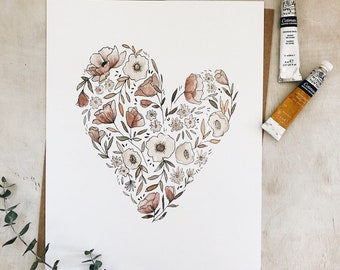 ON SALE! Garden Heart 8x10// art print - colorful - wall art - artwork - original painting - baby girl room - decoration - Valentine's Day