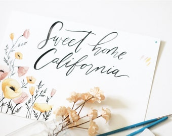Sweet Home California Art print- 8x10 hand lettered watercolor art print