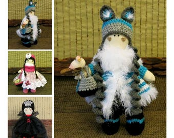Fabric Collectable Doll in Aqua Blue White
