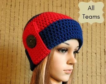 AFL Melbourne Fashion Beanie, Wool Crochet Hat, Demons Winter Hat
