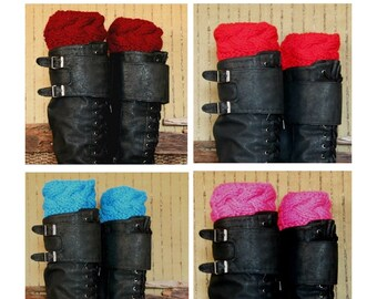 Boot Cuffs Fashion Accessory, Womens Leg Warmers, Chunky Cable Knit Boot Toppers