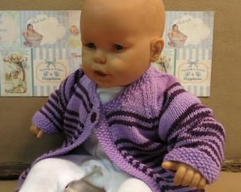 Purple Striped Wool Kids Cardigan, Children s Wool Jacket