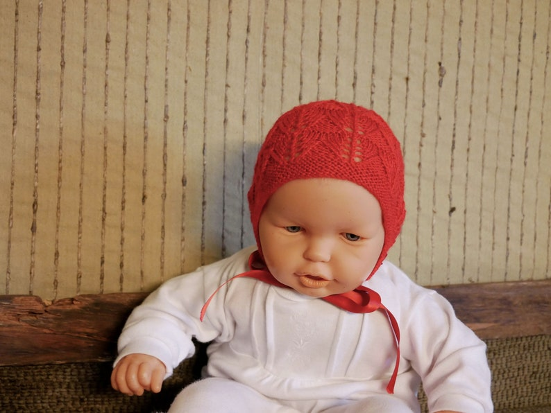 Baby Clothes Photo Prop CLEARANCE SALE Red Baby Bonnet