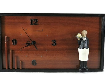 Unique Wall Clock, Kitchen Decor, Wooden Clock, Kitchen Butler Figurine, Modern Wall Art