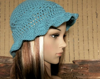 Womens Crochet Sun Hat, Turquoise, Blue Bucket Hat,  Patterned Crochet Beanie, Womans Gift, Melbourne Australia Knitted Sun Hat 45 Colours