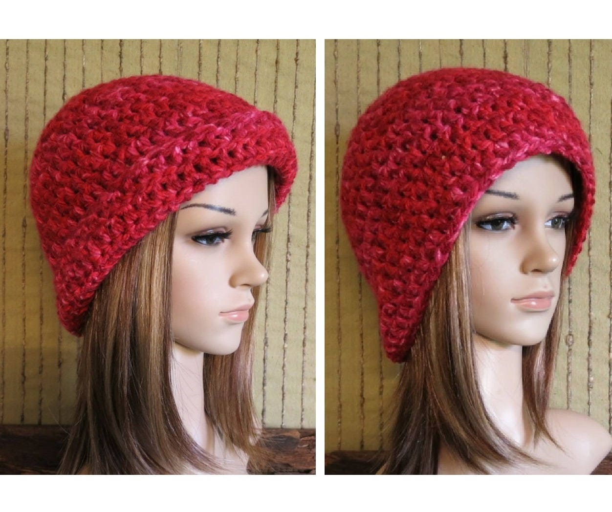 0ed83aac5f6 Knit Hat Red Men Womens Hat Brim Up or Down Wool Beanie
