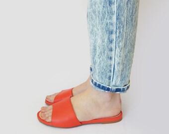 Slide sandals women, Red flip flops, Slip on shoes, Womens orange shoes, Orange slippers, Leather sandals, SUMMER SHOES, Open toe shoes