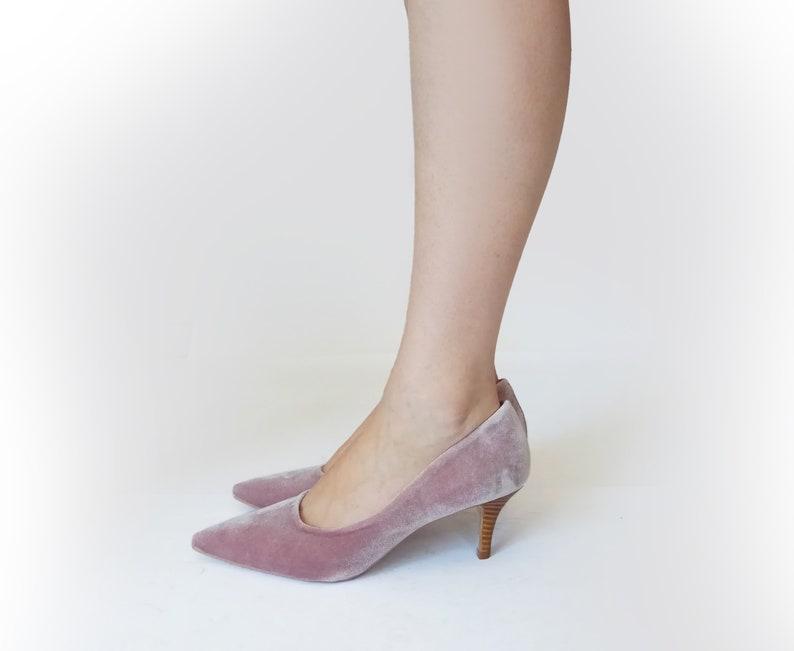 773151e8f5b Velvet heels Lilac shoes Mid heel shoes Lilac wedding