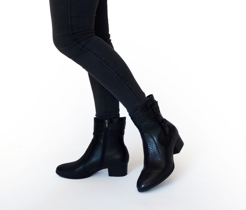 0dba43c6a7a Motorcycle boots women, Black low heel boots, Black booties, LEATHER Boots  women, Under knee boots, Mid calf boots for women, Zip up boots