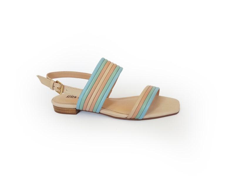 849be2e64634c Rainbow color sandals, Multicolor sandals, Flat sandals, Bridal sandals,  Wedding shoes, Leather sandals, Strap sandals, Wedding sandals
