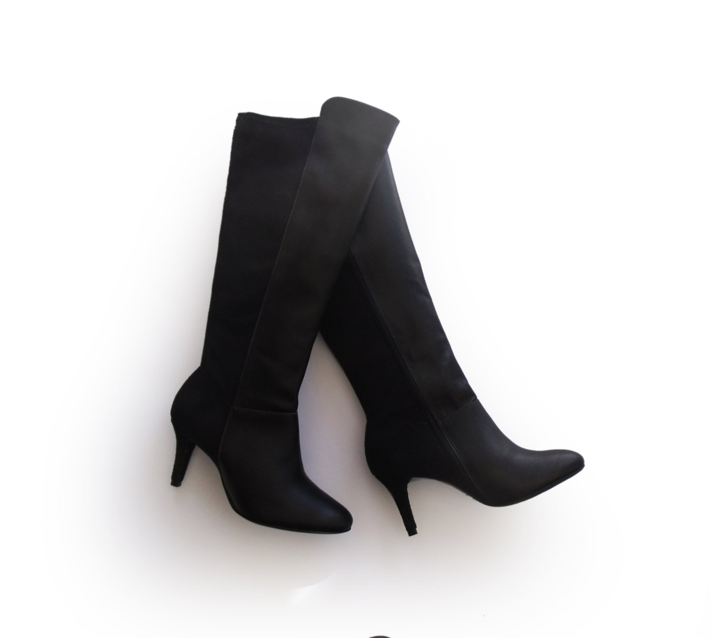 Black high boots Sale Below knee boots