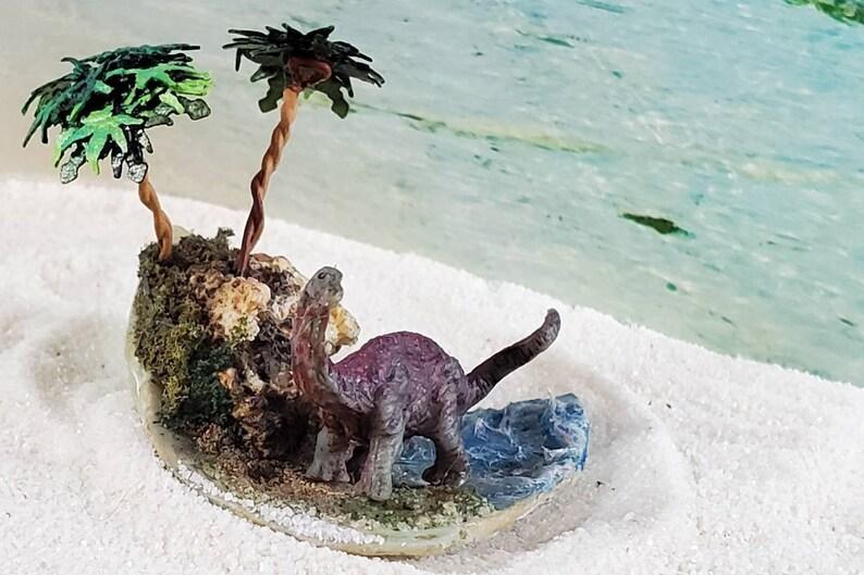 Shell ArtBRONTOSAURUS w/ 2 Palms Desktop Dinosaur ShellScape image 0