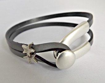 Women leather bracelet, wishbone bracelet, wrap bracelet, bracelets for women, leather bracelet, gift for her, good luck gift