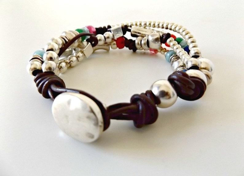 beaded bracelet leather bracelet bracelet for woman leather wrap bracelet wrap bracelet boho bracelet K1895 uno de 50