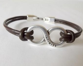 Mens leather bracelet, infinity bracelet, mens jewelry, husband gift, boyfriend gift, gift for men, jewelry for men, mens bracelet