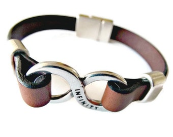 Leather bracelet, mens bracelet, bracelets for men, infinity bracelet, gifts for men, gifts for her, bracelets for women, leather bracelet