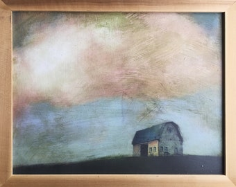Hand-Painted & Sealed Barn Reproduction Print 11x14 in Natural Frame