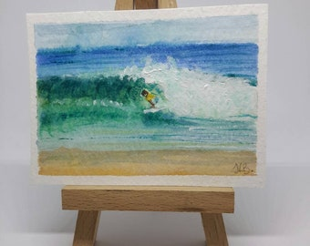 ACEO original watercolour painting surfer beach waves surf art collectors art card