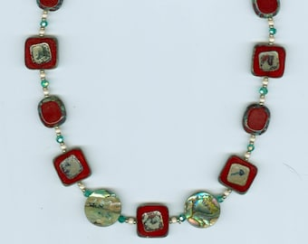 """Beaded necklace, glass encased mother of pearl beads, teal, pearl and silver accents. Lovely Gift! L: 16""""."""