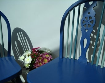 Upcycled Wheelback Chairs with co-ordinating spindles in Annie Sloan Chalk Paint