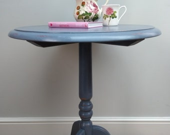 Upcycled Occasional Pedestal Table in Old Violet Annie Sloan Chalk Paint