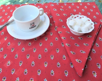 Cotton napkins cloth napkins,Set of napkins. French Provence. Unique birthday hostess gift under 25. Red yellow flowers Floral print in red