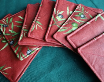Olives print in yellow or red. Set of 4 Coasters Cotton coated Waterproof Fabric from Provence. French oilcloth. Birthday gift for her, him