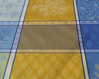 "New collection 2018.Rectangular tablecloth.Stain resistant and water proof.maximum width is 68"".French fabric.Olives in blue and yellow"