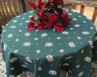 Christmas cotton fabric Water repellent easy care Holiday tablecloth Xmas theme Floral print White Flowers green French fabric Unique gift