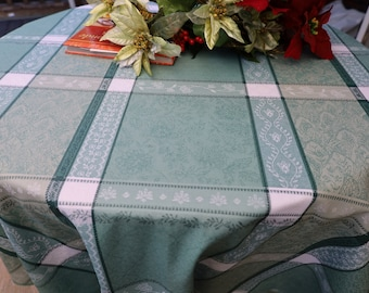 Shade of green and white Round Table cloth Holiday Thanksgiving table setting Cotton coated fabric Jacquard Provence SO easy care