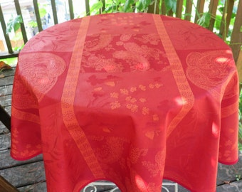 "Round Tablecloth 40"" or 60"" jacquard Oilcloth big Paisley in red stain resistant and water proof easy care"