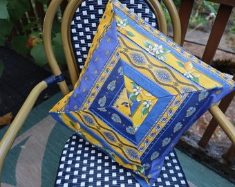 Cotton coated Quilted handmade pillow case Easy care Unique Provence gift Lemon Flowers print Blue and yellow Birthday gift for her
