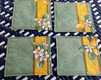 EASY CARE Wipe-able stain resistant fabric Set of 4 cotton coated coasters yellow lemons print in green white flowers Holiday gift under 25