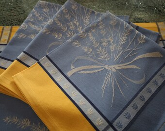 Blue and yellow napkin Cotton Jacquard table linen Lavender lover Birthday gift matching tablecloth