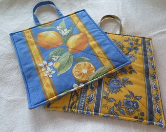 Pot holders, set of 2,oven mitts,hot pad, hostess and housewarming gift.French cotton Provence fabric