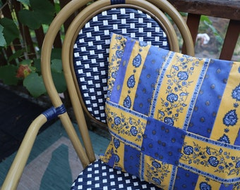 Blue and yellow Quilted Chair Cushion case Floral print Paisley Unique Housewarming, Birthday Holiday gift from Provence Outdoor patio décor