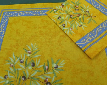 Cotton napkinscloth napkins. Gift for her.Set of 1,2,4,6,8,10,12 napkins.French design and fabric. olives in yellow
