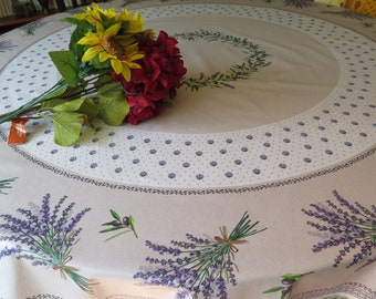 Round table Cloth waterproof. Franch oilcloth.New collection 2018.Fabric from Provence.Perfect gift for lavender lovers!Lavender in beige