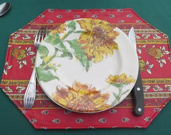 Cotton coated Placemat. Stain resistant water proof. Birthday Gift for her under 25 Provence fabric. Summer Floral print flowers in red